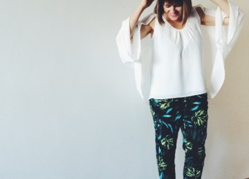Tropical print pants and white top