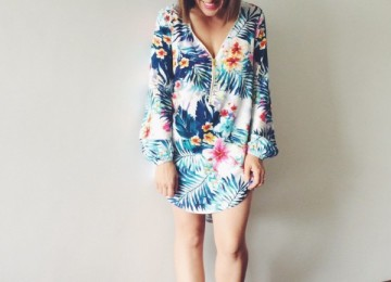 Tropical print shirt dress st frock
