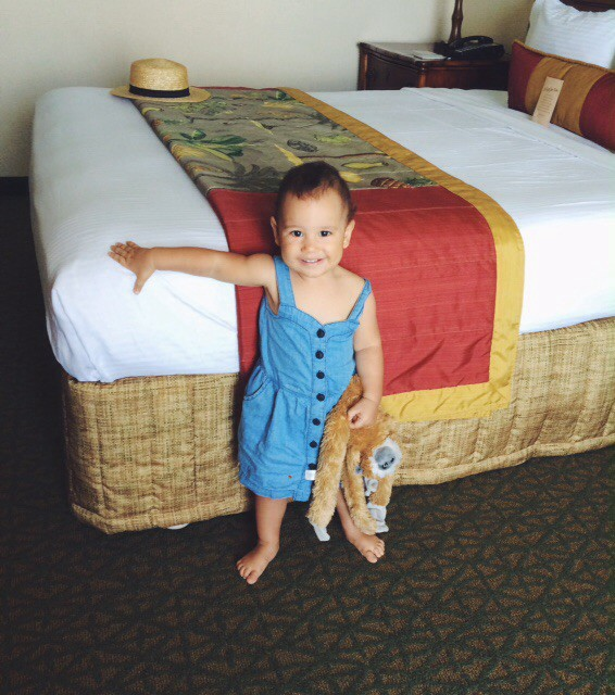 Hannah in the Outrigger Waikiki hotel room, and her favourite new toy - aptly named 'Monkey'