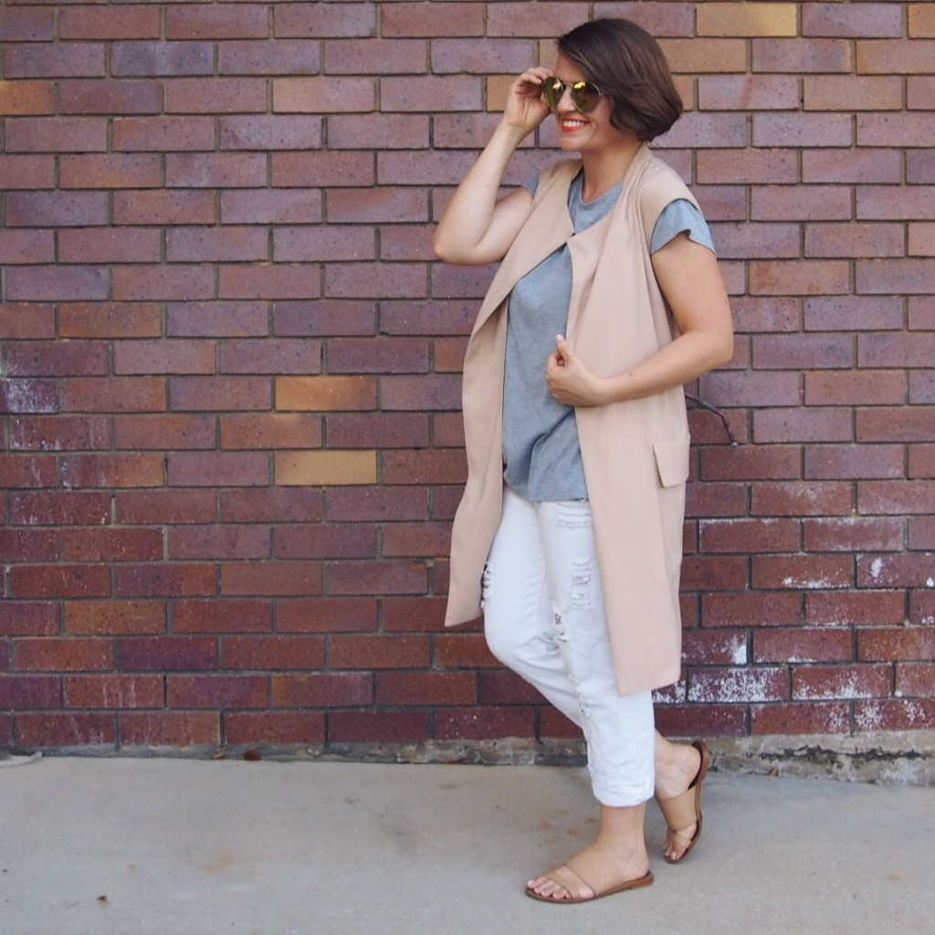 neutrals outfit sleeveless coat vest