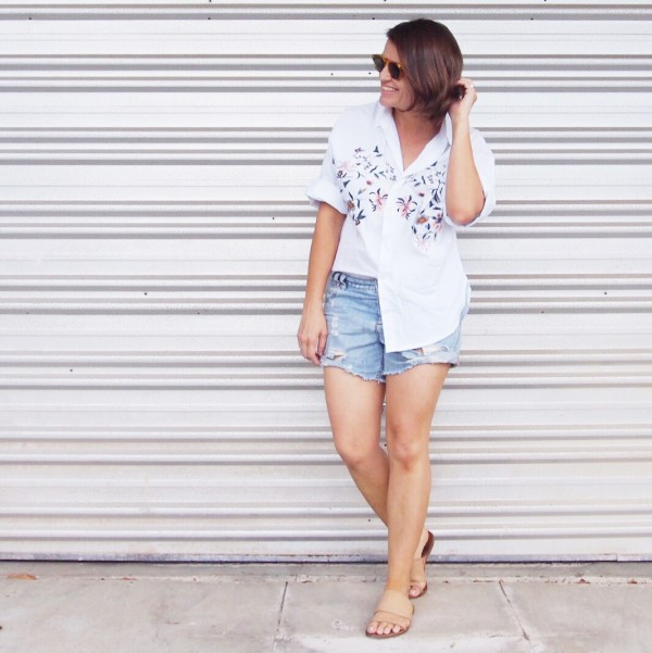 embroidered shirt with denim boyfriend shorts outfit