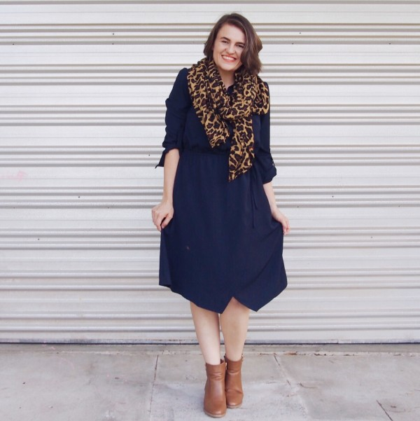 lpd navy dress with tan boots and leopard pretty chuffed blog