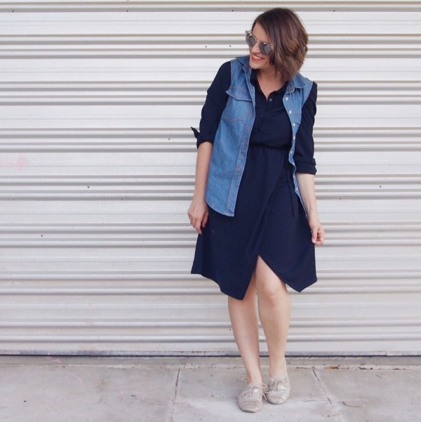 denim shirt with navy dress outfit