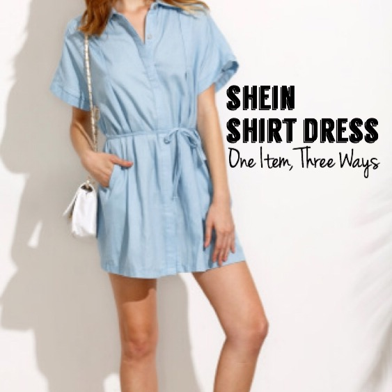 SheIn Blue Shirt Dress | One Item, Three Ways