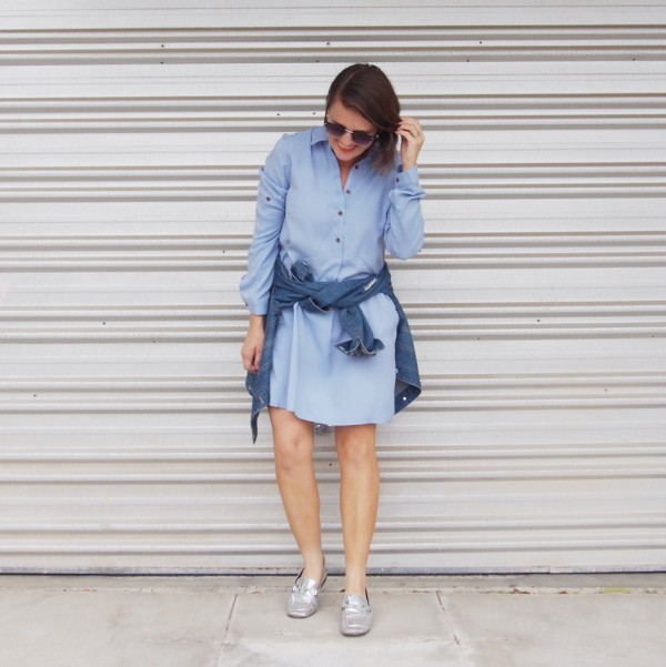 blue shirt dress denim jacket pretty chuffed brisbane blogger