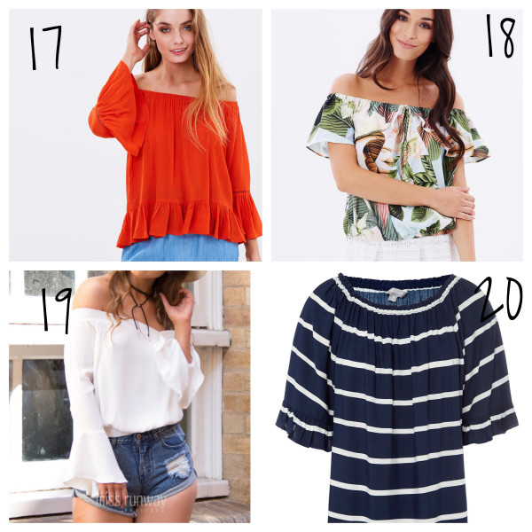 bright off shoulder tops