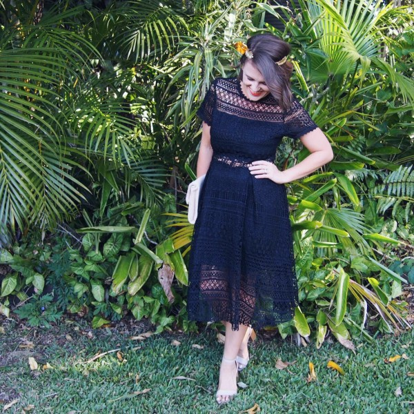 black lace dress spring racing outfit