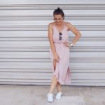 pink dress with white sneakers outfit surftsitch