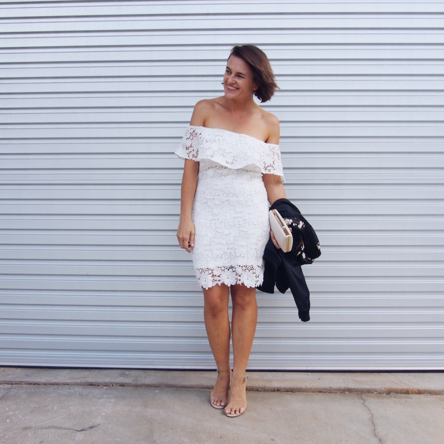 off the shoulder dress when its cold white lace winter
