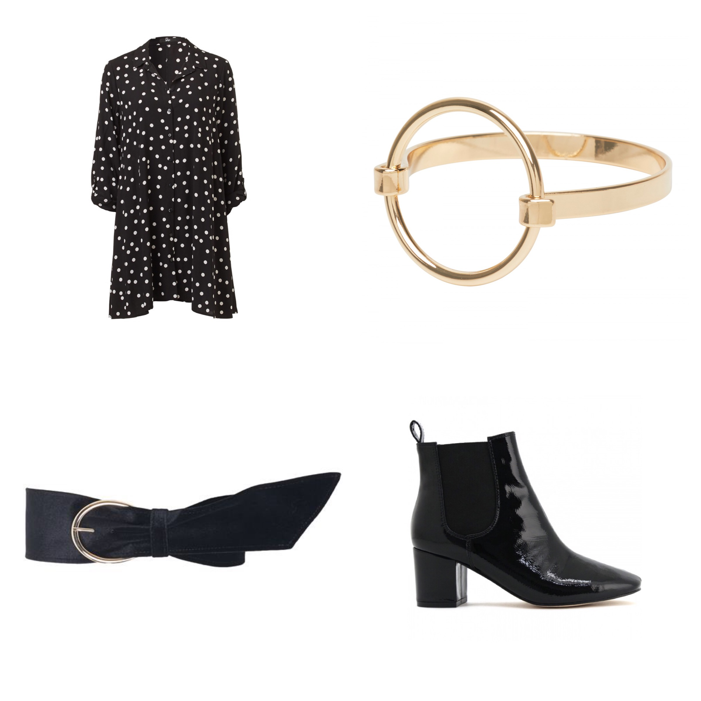 black ankle boots gold belt gucci inspo