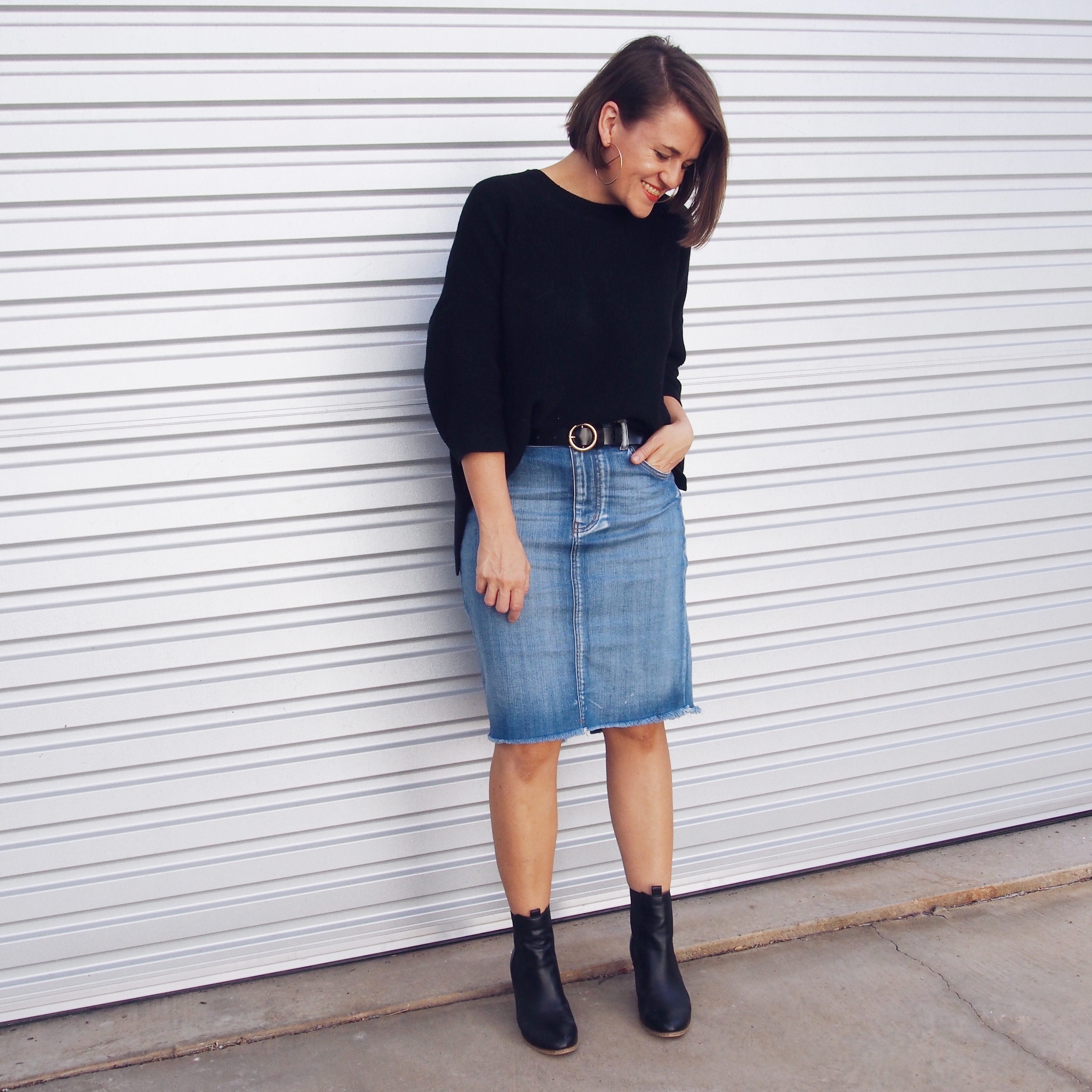 knit top denim skirt outfit pretty chuffed