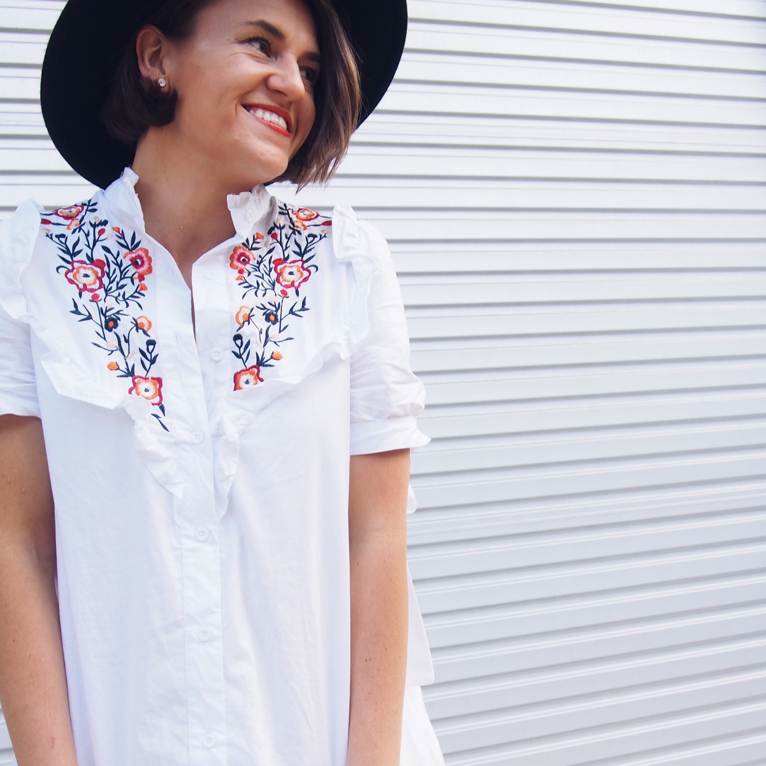embroidered shirt dress blogger with wool fedora