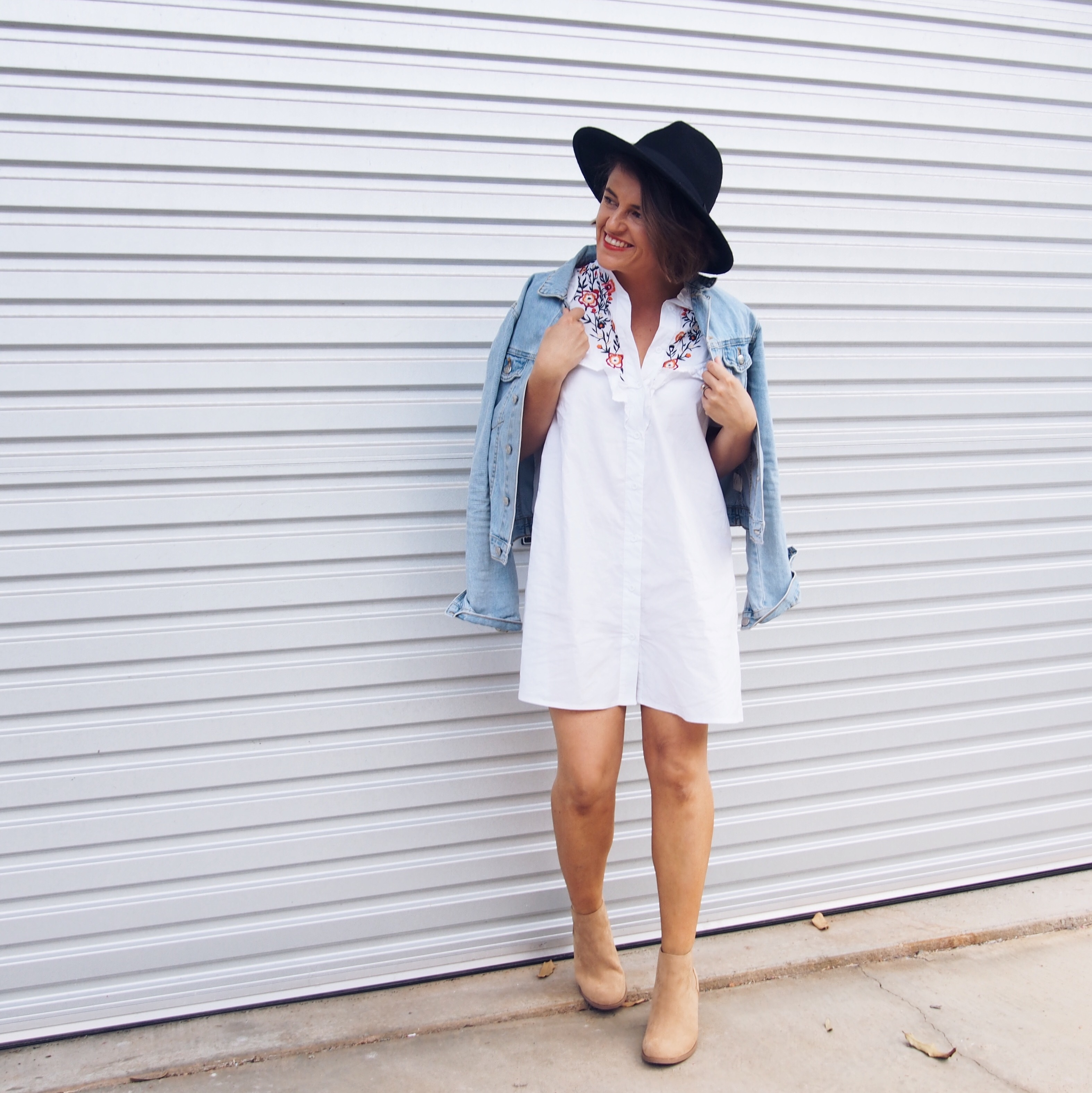 how to wear a wool fedora and embroidered shirt dress