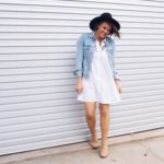 Embroidered shirt dress and wool fedora hat outfit