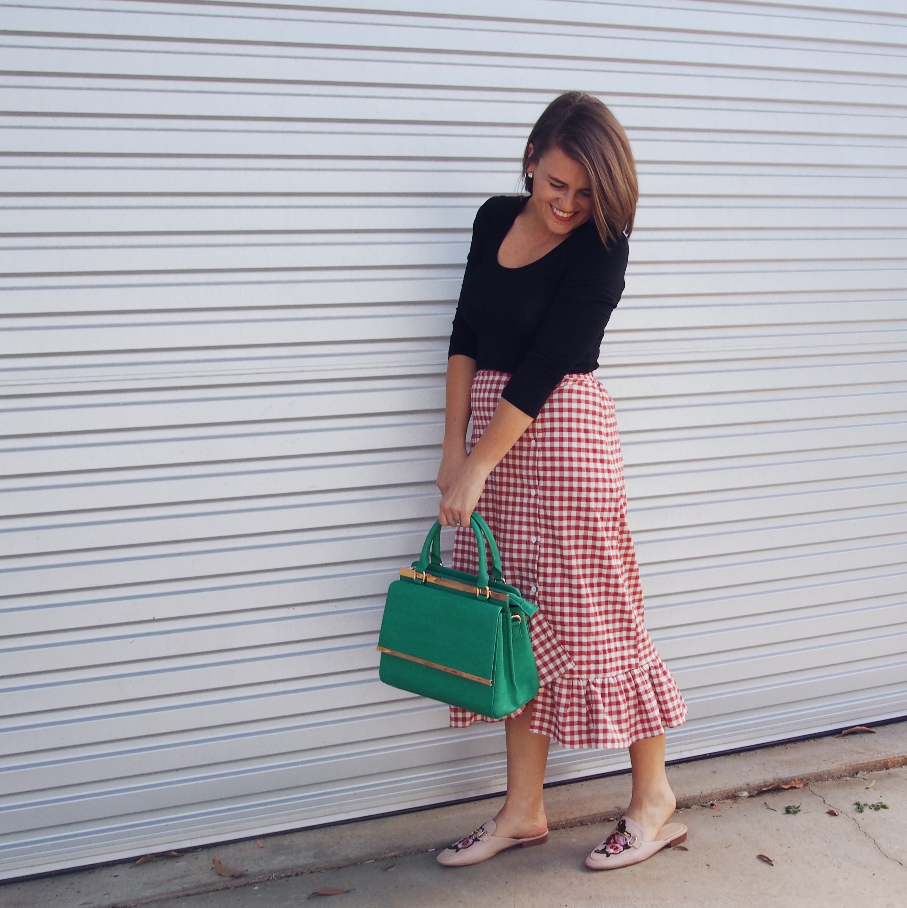 how to wear a gingham skirt with embroidered mules pretty chuffed