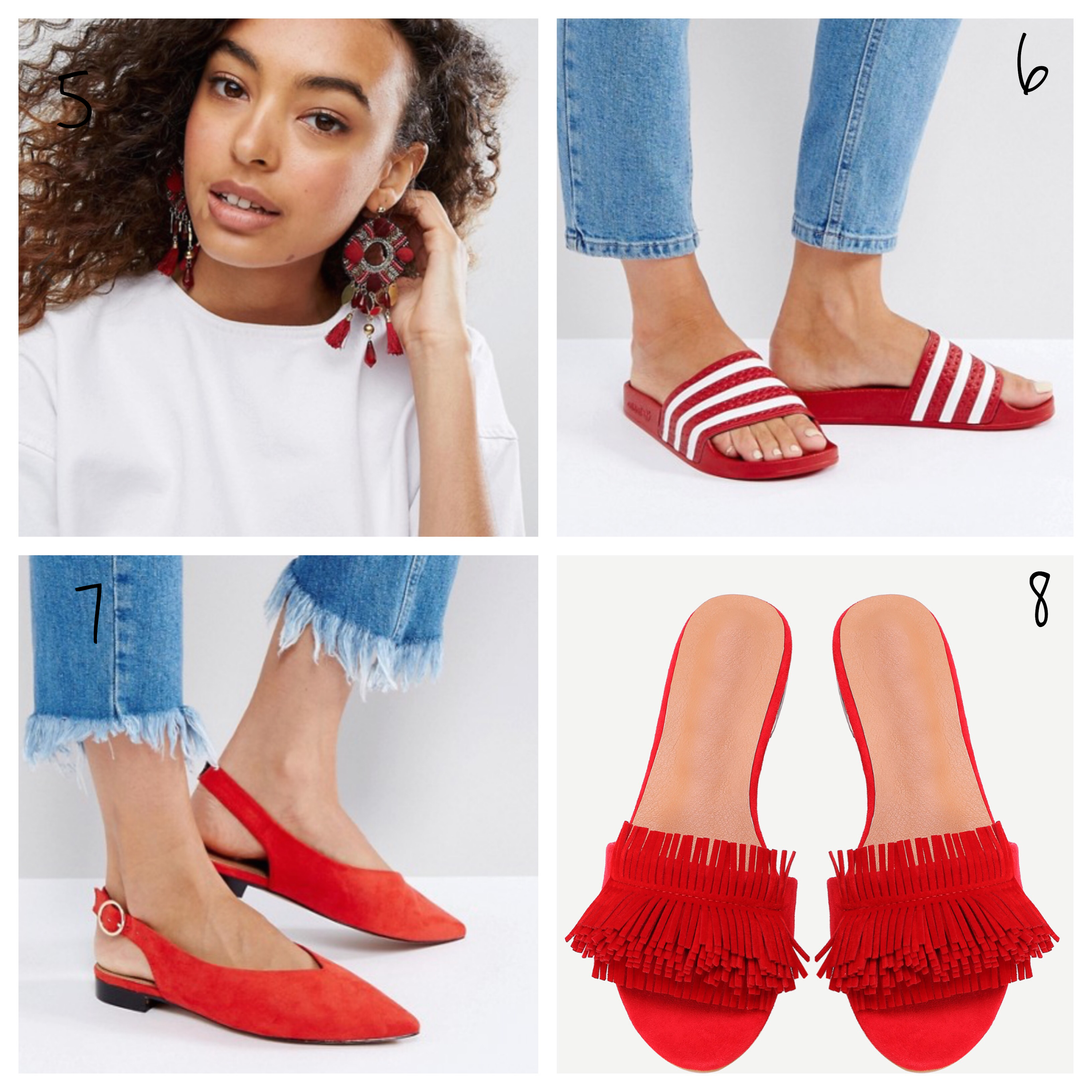 red earrings red adidas slides