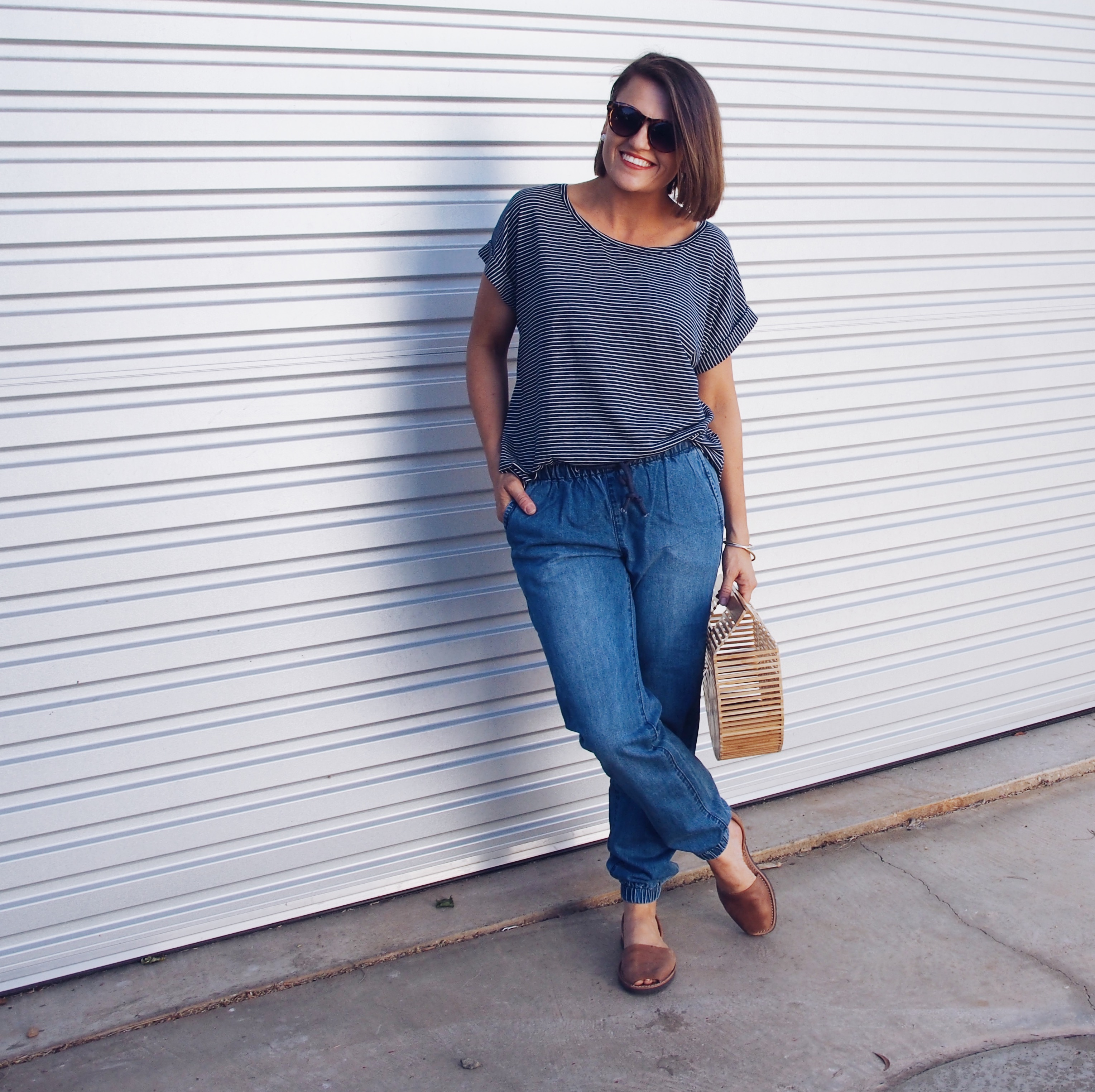 classic beach outing outfit with a stripe tee
