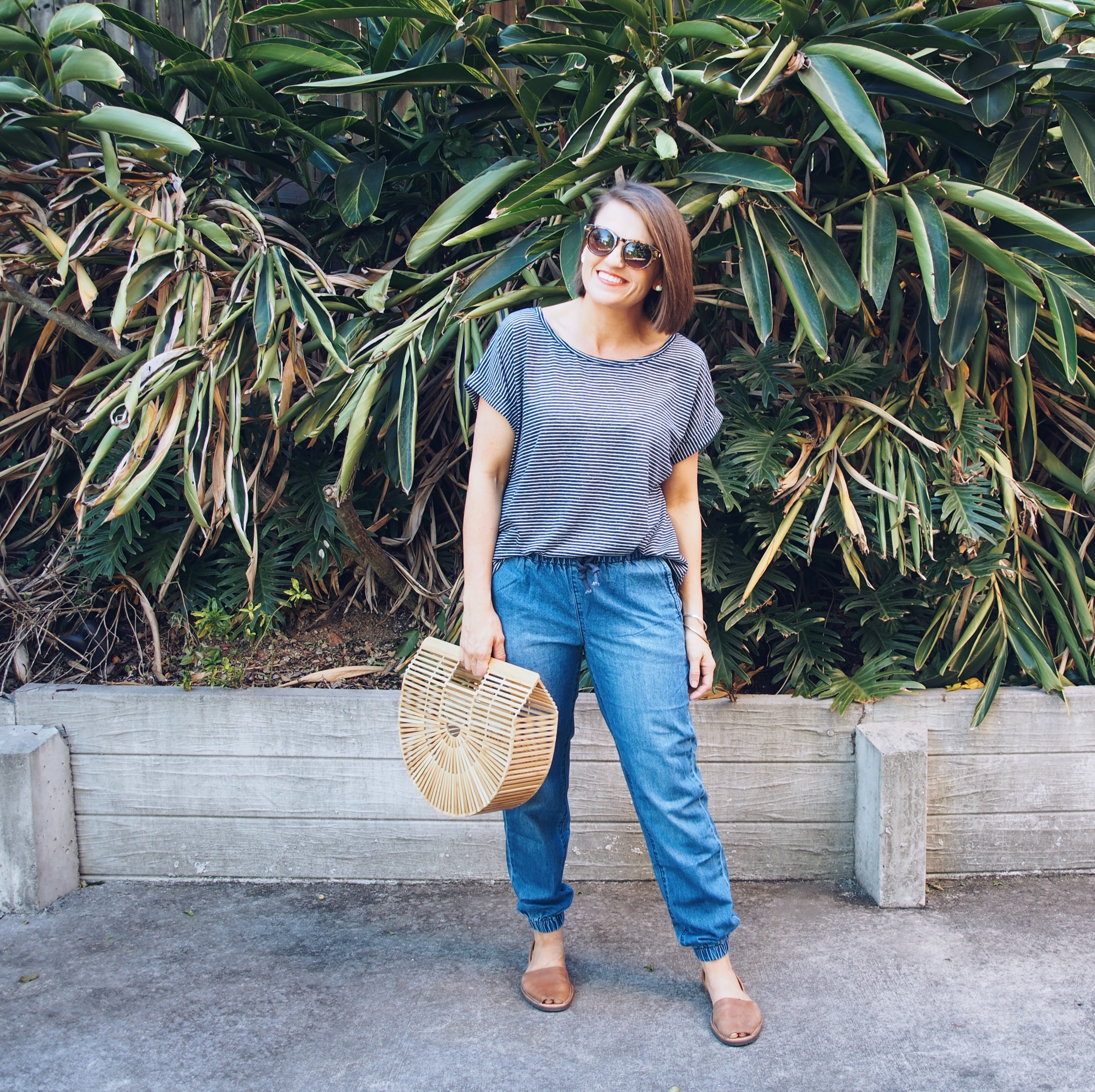 chasing case clothing striped top and jeans