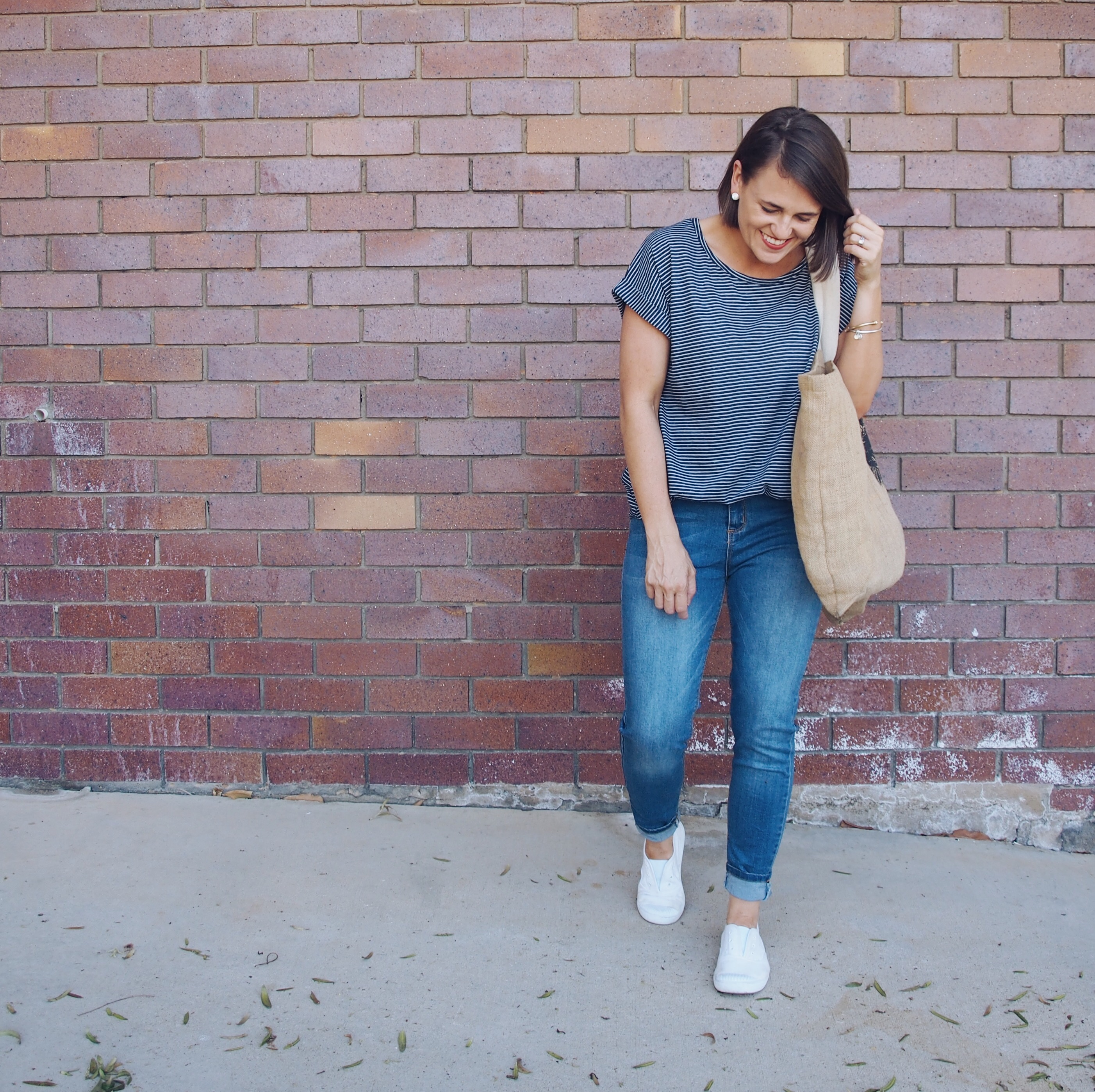 Casual stripe top and jeans outfit blogger style by Pretty Chuffed