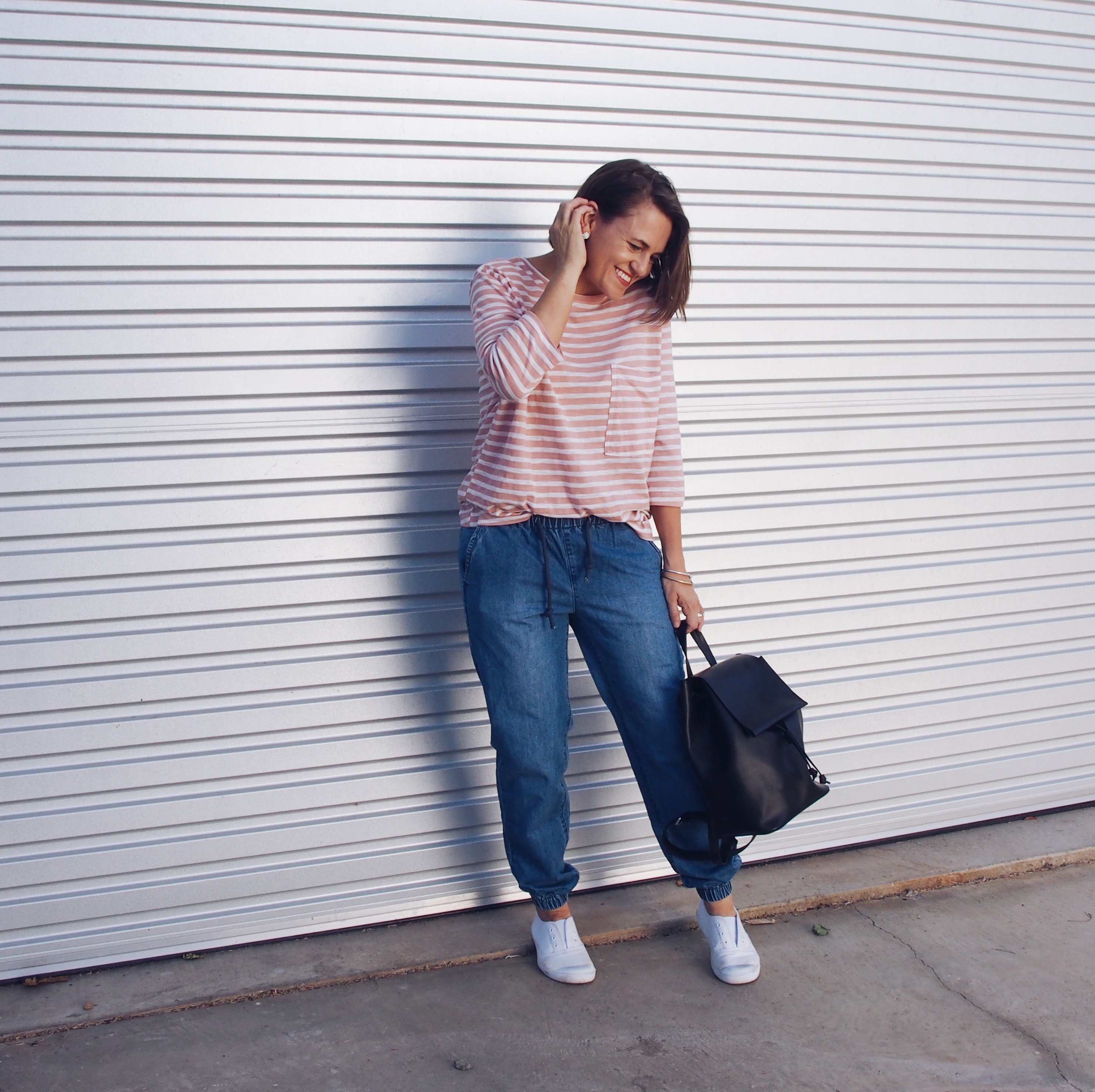 Casual outfit how to wear a stripe t-shirt