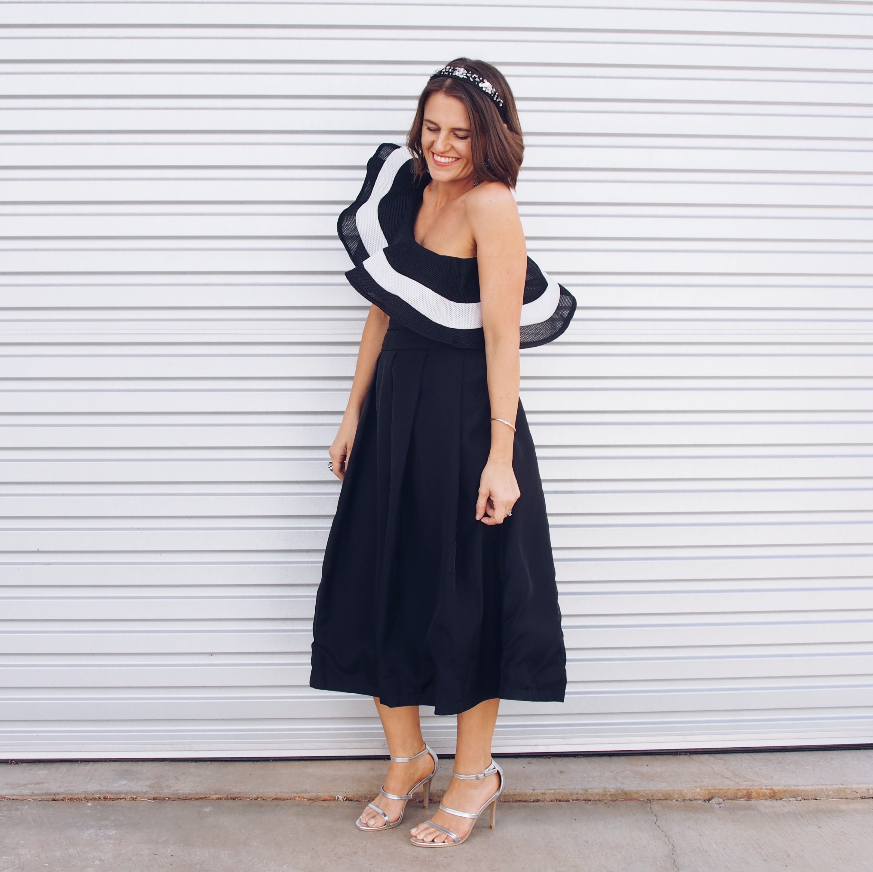 Shein bodysuit and black skirt melbourne cup outfit idea with simple headband