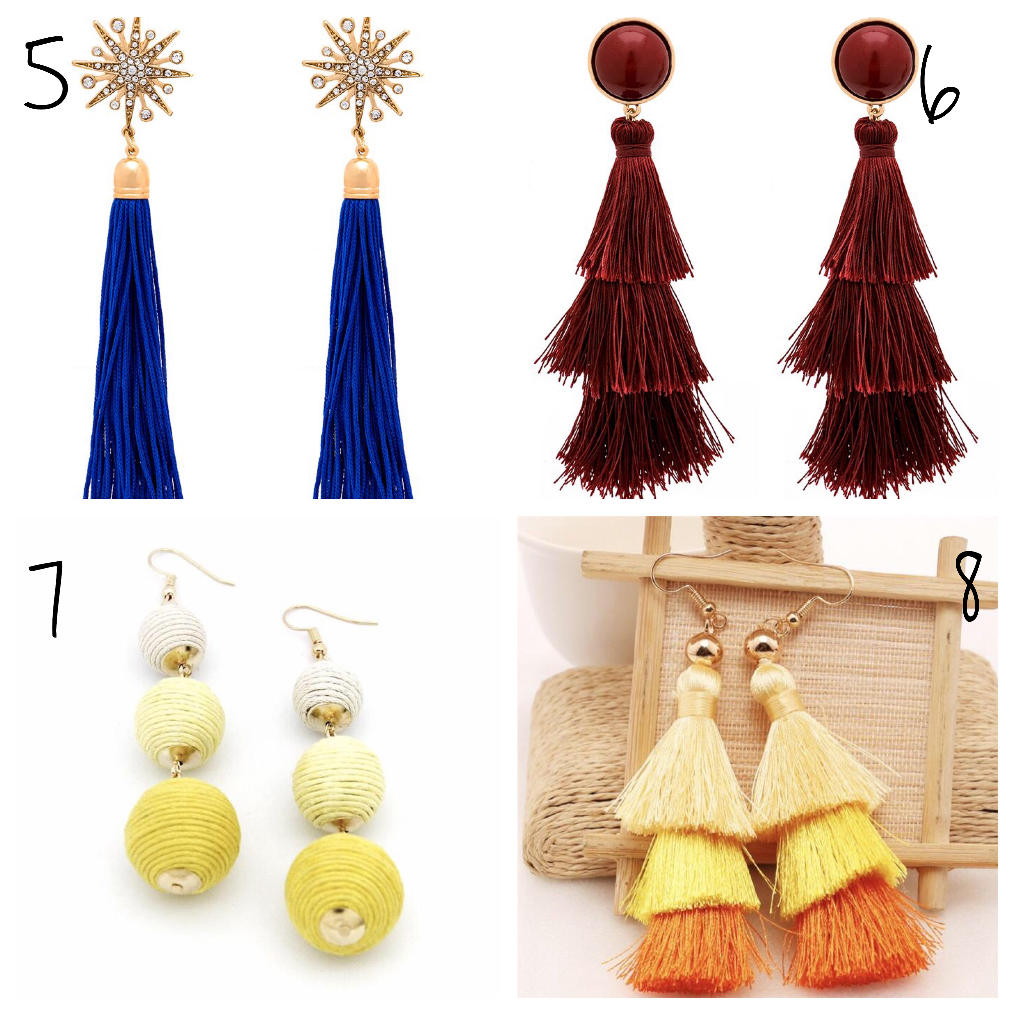 Tassel earrings and drop earrings affordable fashion