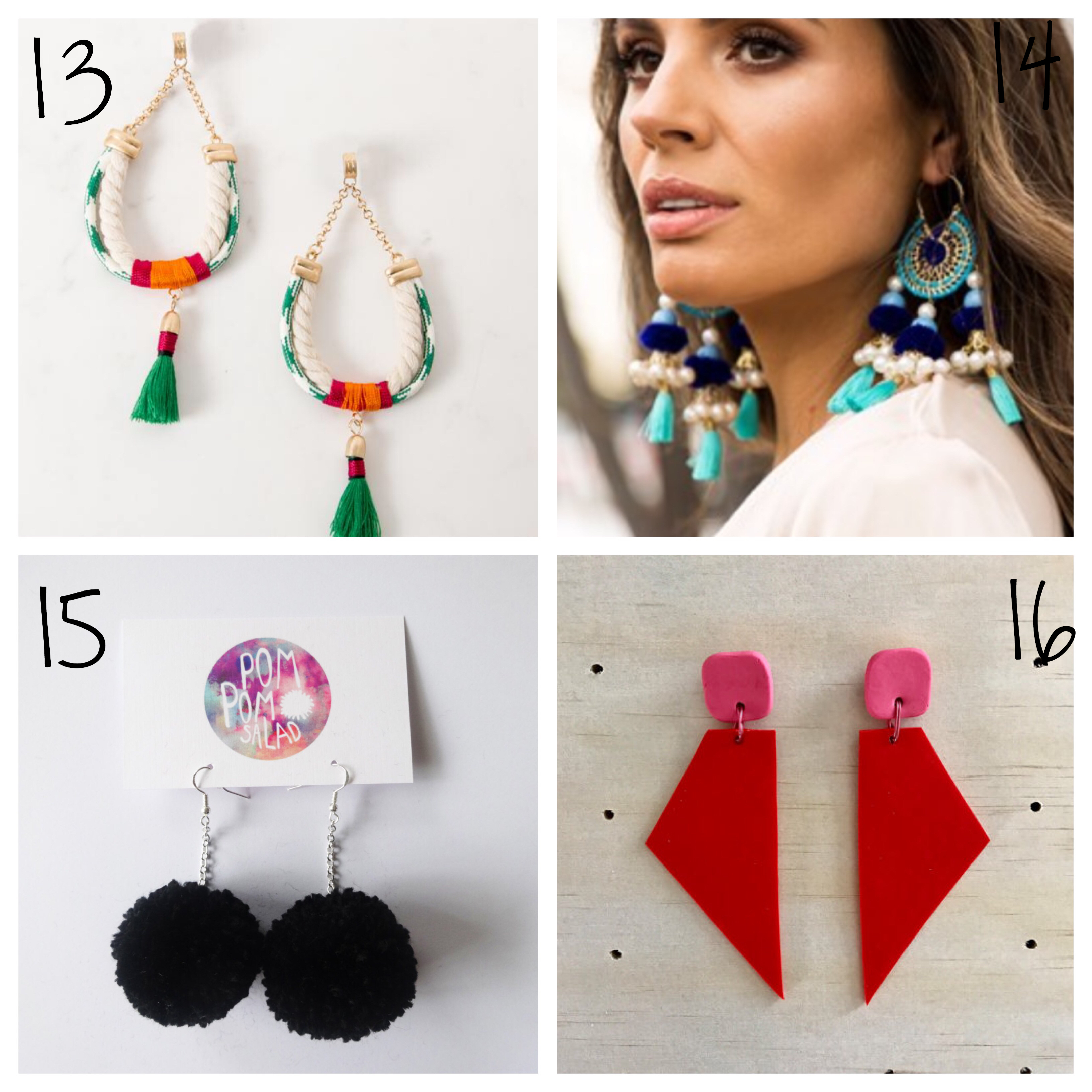 Bright statement earrings