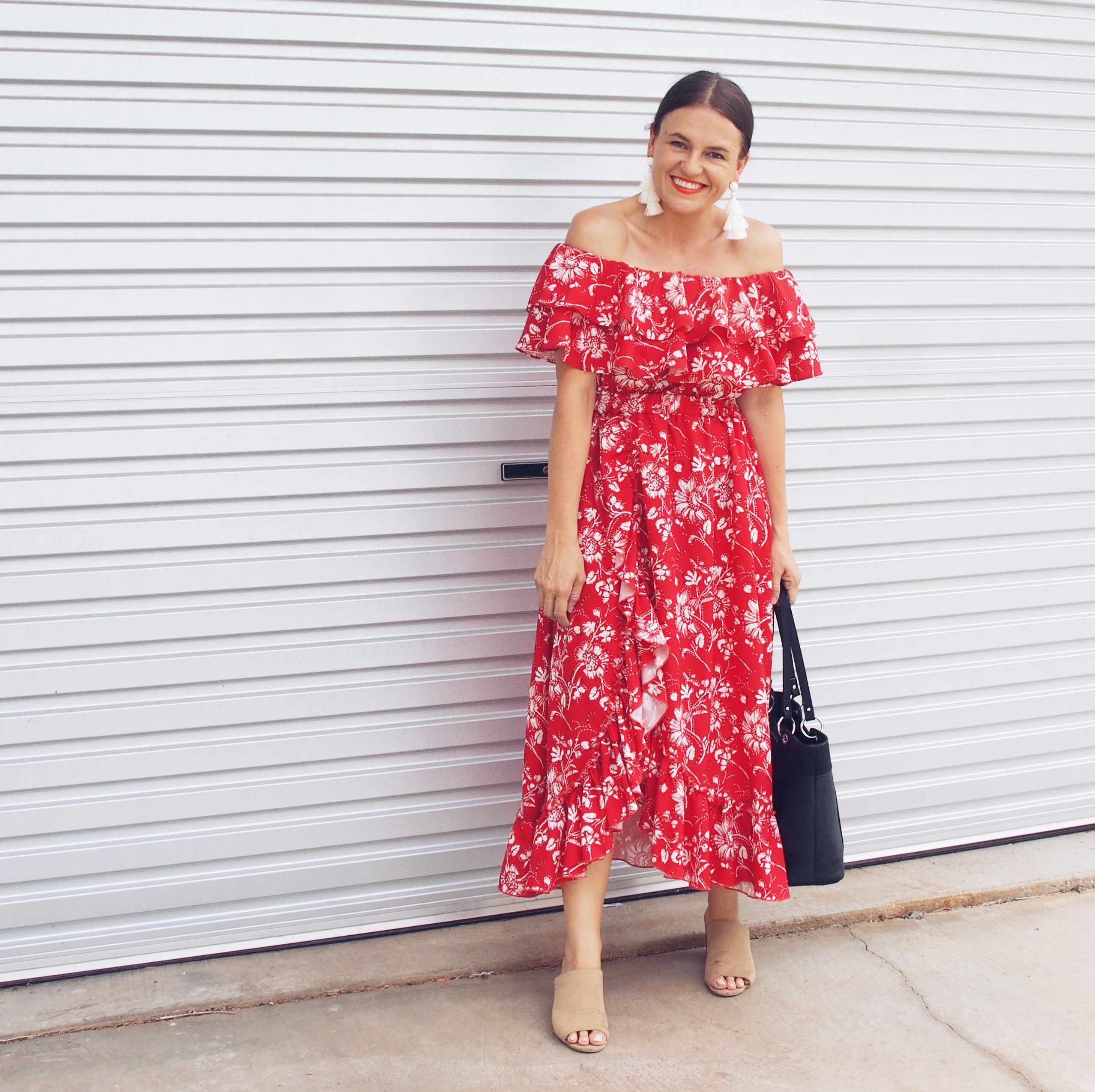 luulahbelle red off the shoulder dress